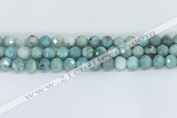 CLR119 15.5 inches 8mm faceted round larimar gemstone beads