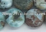 CLR129 15.5 inches 10mm flat round larimar gemstone beads