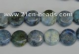 CLR209 15.5 inches 12mm flat round larimar gemstone beads