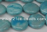 CLR363 15.5 inches 16mm flat round dyed larimar gemstone beads