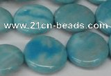 CLR364 15.5 inches 18mm flat round dyed larimar gemstone beads