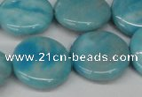 CLR365 15.5 inches 20mm flat round dyed larimar gemstone beads