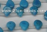 CLR448 Top drilled 8*10mm flat teardrop dyed larimar gemstone beads