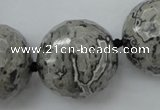 CLS09 15.5 inches 30mm faceted round large grey picture jasper beads