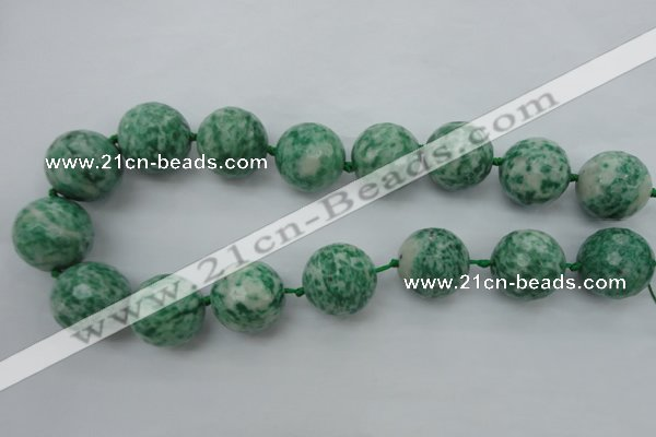 CLS102 15.5 inches 25mm faceted round large Qinghai jade beads