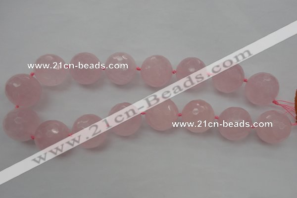 CLS103 15.5 inches 25mm faceted round large rose quartz beads