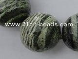 CLS11 15.5 inches 30mm faceted round large green silver line jasper beads