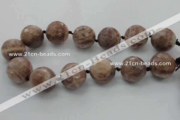 CLS17 15.5 inches 30mm faceted round large moonstone beads