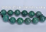 CLS352 7.5 inches 30mm faceted round large green picture jasper beads