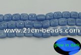 CLU153 15.5 inches 14*14mm square blue luminous stone beads
