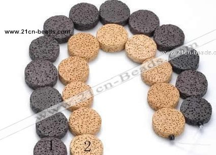 CLV03 14 inches 6*21mm coin natural lava loose beads wholesale