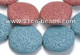 CLV04 14 inches 32mm flat round natural lava beads wholesale