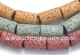 CLV08 14 inches 8*14mm column natural lava loose beads wholesale