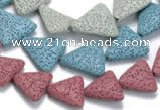 CLV10 14 inches triangle natural lava loose beads wholesale