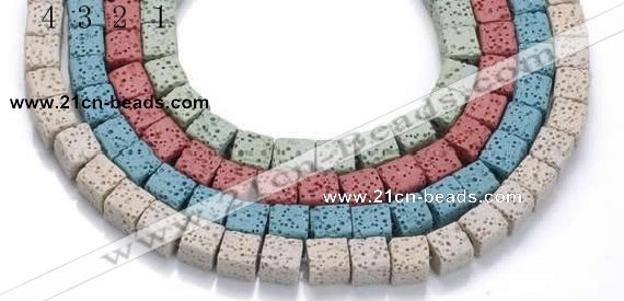 CLV15 14 inches 8mm cubic natural lava loose beads wholesale