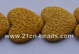 CLV18 15 inches 8*27mm heart yellow natural lava beads strand wholesale
