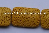 CLV19 15 inches 19*28mm rectangle yellow natural lava beads wholesale