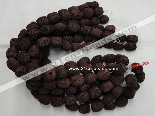 CLV207 15.5 inches 15*20mm freeform coffee natural lava beads wholesale