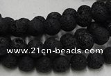 CLV211 15.5 inches 6mm round black natural lava beads wholesale