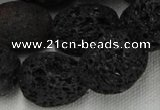 CLV217 15.5 inches 20*26mm freeform black natural lava beads wholesale