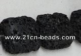 CLV218 15.5 inches 30*30mm square black natural lava beads wholesale