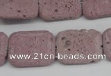 CLV301 15.5 inches 15*20mm rectangle lava beads wholesale