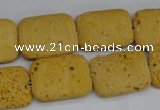 CLV302 15.5 inches 15*20mm rectangle lava beads wholesale