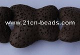 CLV34 15 inches 26*28mm butterfly-shaped chocolate natural lava beads