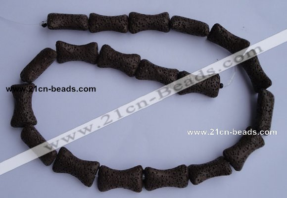 CLV35 15.5 inches 12*20mm pillow-shaped chocolate natural lava beads