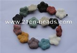 CLV38 15 inches 7*26mm star multicolor natural lava beads wholesale