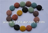 CLV39 15 inches 7*20mm flat round multicolor natural lava beads wholesale