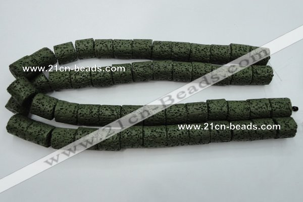 CLV394 15.5 inches 15*15mm tube dyed lava beads wholesale
