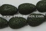 CLV398 15.5 inches 16*22mm flat teardrop dyed lava beads wholesale