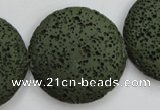 CLV405 15.5 inches 32mm flat round dyed lava beads wholesale