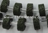 CLV410 15.5 inches 6*15mm tyre dyed lava beads wholesale