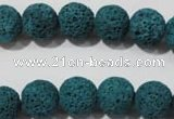 CLV453 15.5 inches 10mm round dyed blue lava beads wholesale