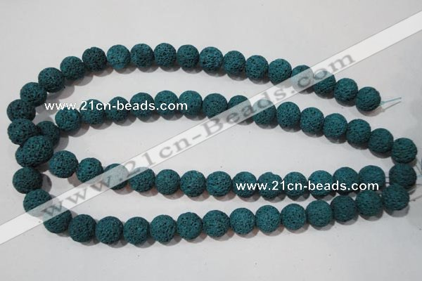 CLV454 15.5 inches 12mm round dyed blue lava beads wholesale