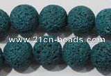 CLV455 15.5 inches 14mm round dyed blue lava beads wholesale