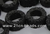 CLV46 15.5 inches 5*15mm donut shape black natural lava beads