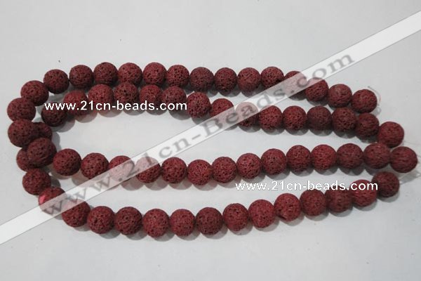 CLV470 15.5 inches 12mm round dyed red lava beads wholesale