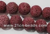 CLV471 15.5 inches 14mm round dyed red lava beads wholesale