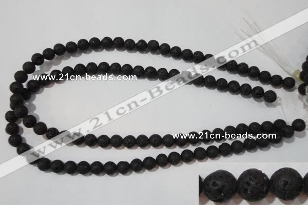 CLV484 15.5 inches 8mm round black lava beads wholesale