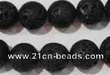 CLV487 15.5 inches 14mm round black lava beads wholesale