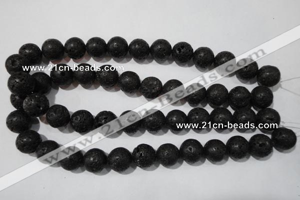 CLV488 15.5 inches 16mm round black lava beads wholesale