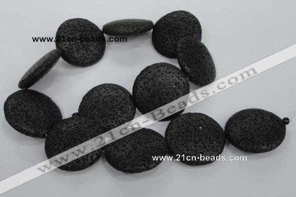 CLV51 15.5 inches 32mm flat round black natural lava beads wholesale