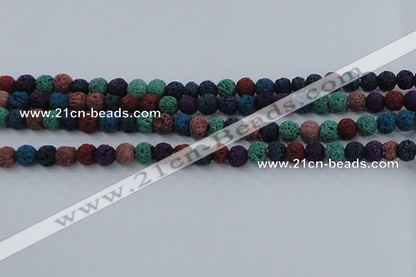 CLV521 15.5 inches 6mm round mixed lava beads wholesale