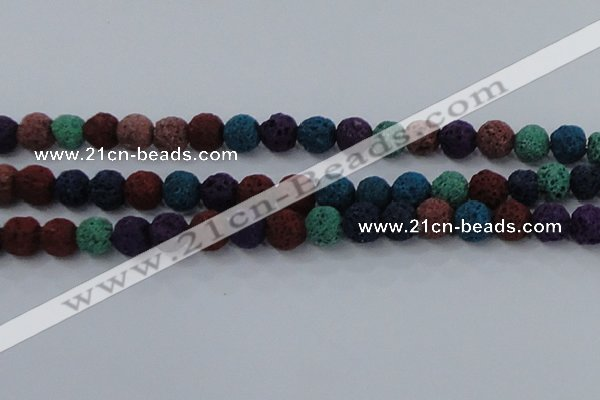 CLV522 15.5 inches 8mm round mixed lava beads wholesale