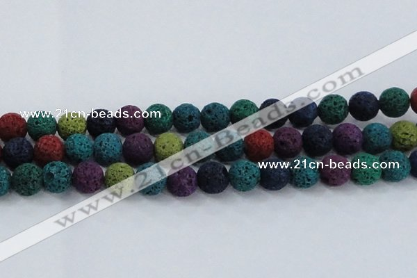 CLV523 15.5 inches 10mm round mixed lava beads wholesale