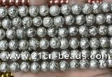 CLV530 15.5 inches 6mm round plated lava beads wholesale