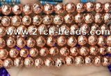 CLV542 15.5 inches 8mm round plated lava beads wholesale